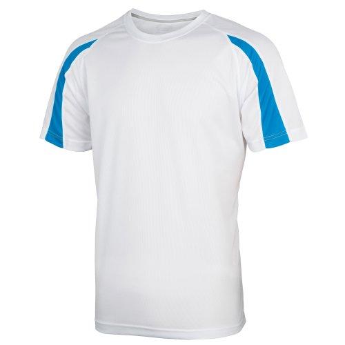 Just Cool Mens Contrast Cool Sports Plain T-Shirt (L) (Arctic White/Sapphire Blue)