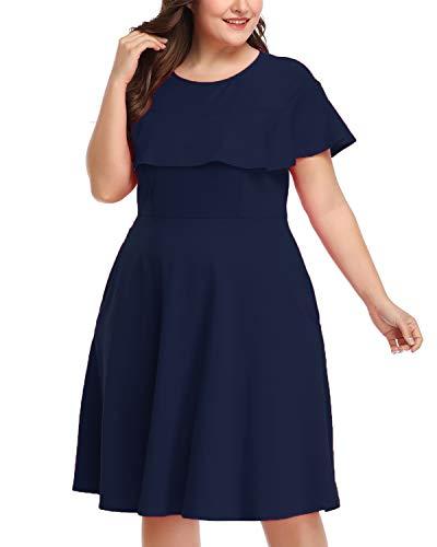 Women's Plus Size Crew Neck Illusion Ruffle High Waist A-line Midi Cocktail Dress Dark Blue 24W