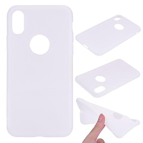 iPhone X Custodia , Leiai Moda Bianca Peso Leggero Soft Silicone Morbido TPU Cover Case Shell Custodia per Apple iPhone X
