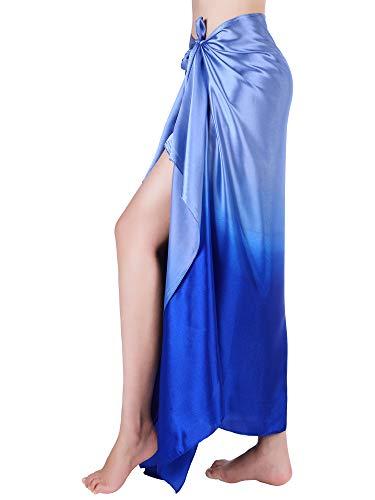 Hestya Women Pareo Swimsuit Beach Swimwear Wrap Gradient Color Bikini Sarong (Multicolor 8)