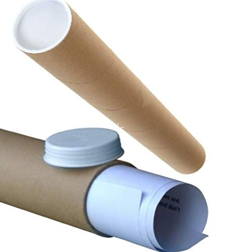 Cardboard Postal Tube + Plastic White End Caps A2 460MM X 50MM (Pack of 10) EGS