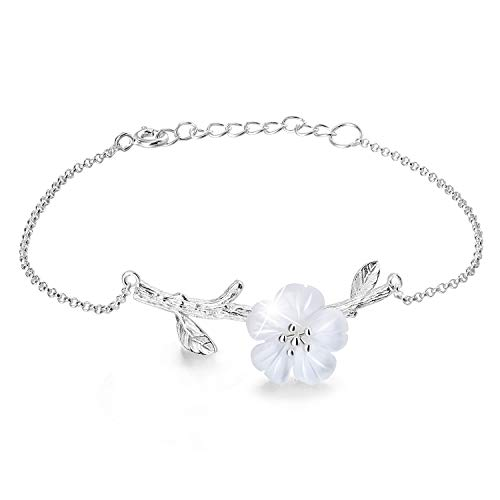 Lotus Fun S925 Sterling Silver Bracelet Crystal Flower in The Rain Adjustable Bracelets with Chain Length 6.5