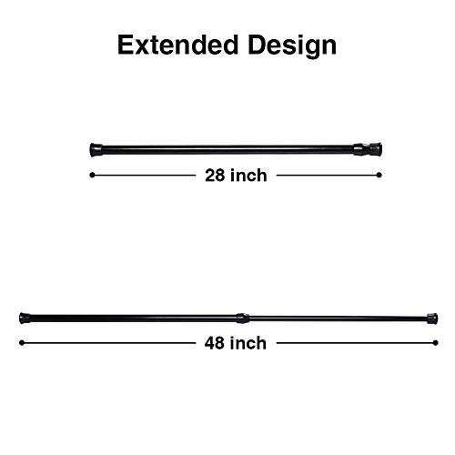 """6 Pack Spring Tension Curtain Rod Adjustable Length for Kitchen, Bathroom, Cupboard, Wardrobe, Window, Bookshelf DIY Projects (Black - 6 Pack,28"""" to 48"""" Adjustable)"""