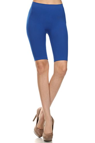 WHITE APPAREL Women Seamlesss Bermuda Length Leggings - One Size ROYAL