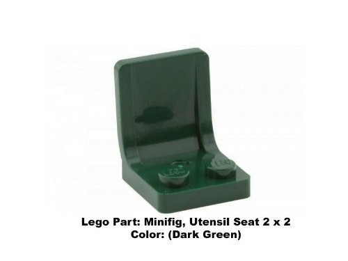 Lego Parts: Minifig, Utensil Seat 2 x 2 (Dark Green)