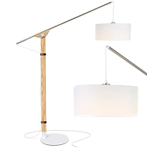 Brightech Eithan LED Floor Lamp - Modern Contemporary Elevated Crane Arc Floor Lamp & Linen Hanging Lamp Shade- Tall, Industrial - Uplight Lamp for Living Room Office or Bedroom Natural - Lamp Arm Arc Floor