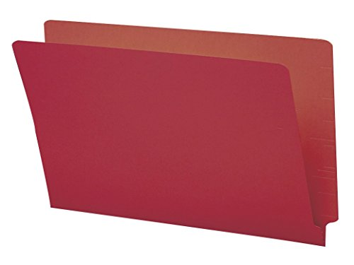 Smead End Tab File Folder, Shelf-Master Reinforced Straight-Cut Tab, Legal Size, Red, 100 per Box (28710) (Tab File End)