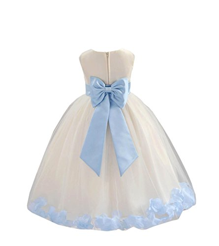 Satin Ivory Flower Girl Dresses - Wedding Pageant Rose Flower Petals Tulle