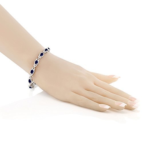 9.65 Ct Blue Sapphire 925 Sterling Silver 7 Inch Bracelet With 1 Inch Extender