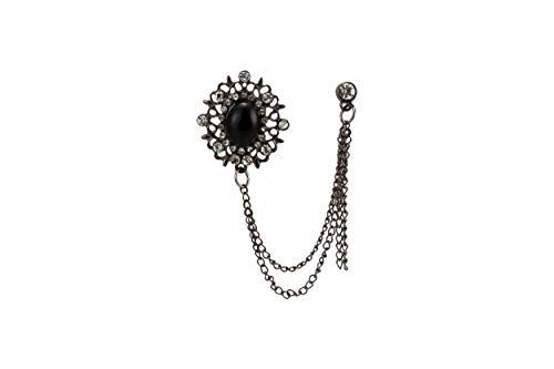 Knighthood Gun Metal Abstract and Black Stone with Swarovski Detailing Hanging Chain Brooch