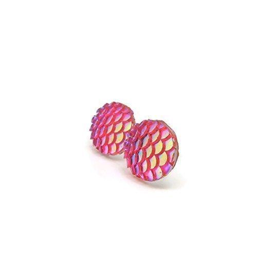 Mermaid Scale Earrings on Plastic Posts, 12mm Iridescent Pink