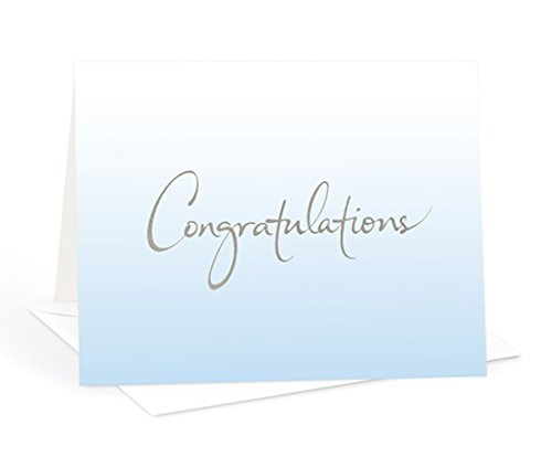 Atsui Cards, Box Set of 8 Note Cards - Congratulations (Light Blue - Gradient Card