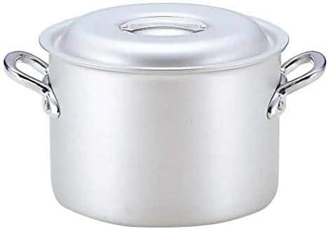 表面はアルマイト仕上げ、きれいさ長持ち。 業務用マイスターアルミ半寸胴鍋36cm 〈簡易梱包
