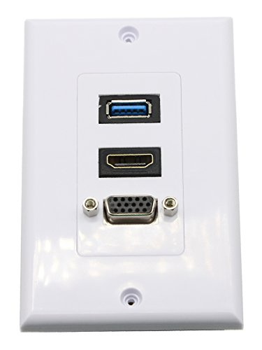 CGTime USB+HDMI+VGA Wall Plate HDMI Component Composite Audio Video Wall Charger Outlet Mount Socket Face Plate Panel Cover White(USB&HDMI&VGA)