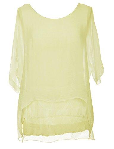 TEXTUREONLINE - Camisas - Básico - para mujer Amarillo Pálido