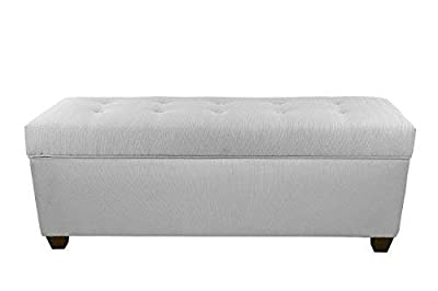 MJL Furniture Designs The Sole Secret Button Tufted Ottoman with Shoe Storage, Bedroom Bench with Shoe Storage Slots