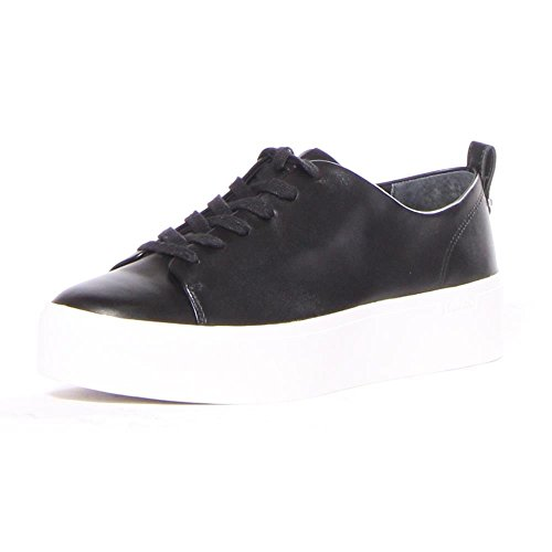 Calvin Klein Women's Janet Sneaker, Black Leather, 7 Medium US