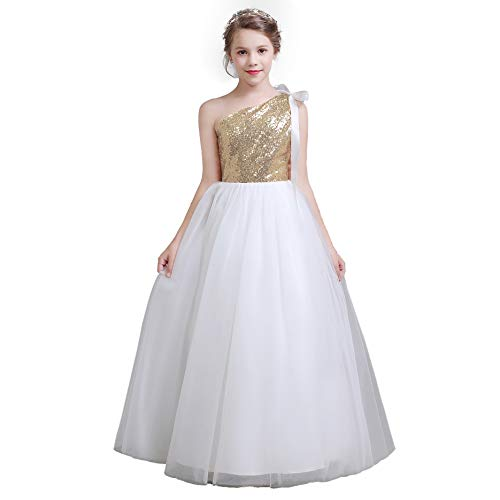 (fairy Girl Long Junior Bridesmaid Dresses Sequin Flower Girl Dresses Tulle for Wedding Party Prom Maxi Dress Dance Gown Champagne,)