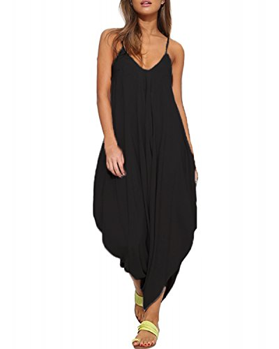Auxo Women Jumper Harem Jumpsuit V Neck Summer Romper One Piece Jumpsuit Playsuit Black US 4/Asian S (Jumper Black Long)