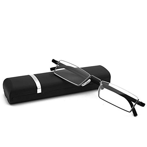 Doober Flexible Black Tr90 Half Frame Semi Rimless Reader Reading Glasses With Case (Black, - Semi Square Glasses Rimless