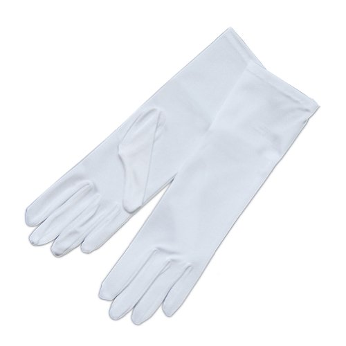 ZaZa Bridal 4-Way Stretch Matte Finish Satin Youth Size(13-16yrs) Gloves - 4BL-White by ZaZa Bridal