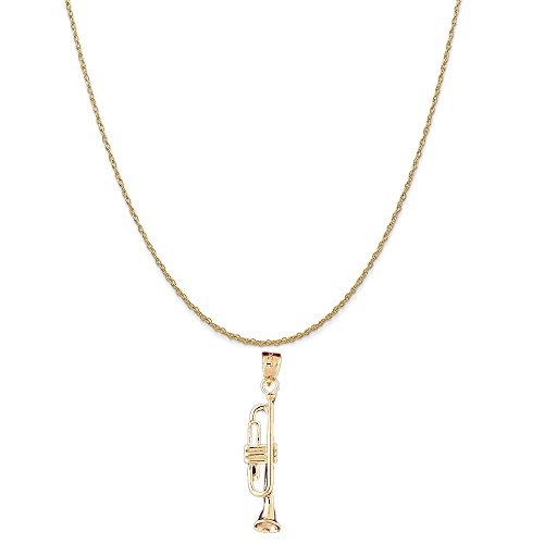 14k Yellow Gold Trumpet Pendant on a 14K Yellow Gold Rope Chain Necklace, 18