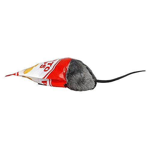 Lifelike 3 in. Animated Hungry Rat Toy that Wiggles and Squeals in Trick or Treat Bag Includes Fake Potato Chip (Halloween Trick Or Treat Jokes)