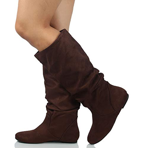 SODA Women's Slouchy Knee High Flat Boot, Tobacco, 75 M US -