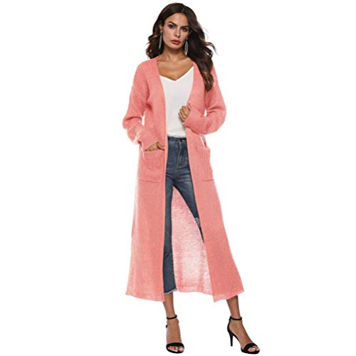 Autumn Long Sleeve Open Cape Casual Coat for Women Blouse Kimono Jacket Cardigan Pink