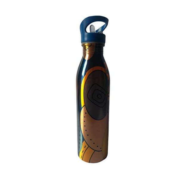 Krishna Creation Pure Copper Colourful Printed Bottle with Swipe Cap for Water irt Proof Leak Proof and Joint Less…