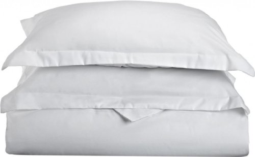 Clara Clark 3 Piece Duvet Cover Set with Pillow Shams Ultra Soft Double Brushed Microfiber, Queen, White - Heavyweight Brushed Twill Fabric