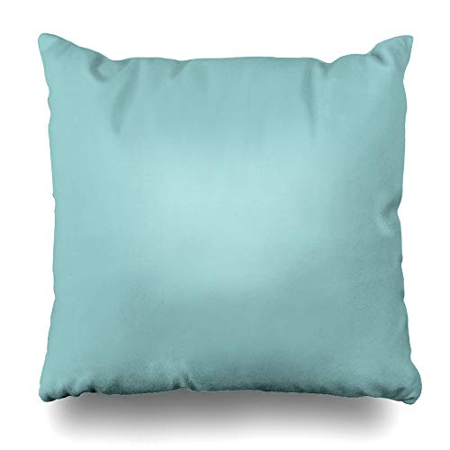 InnoDIY Throw Pillow Covers Solid Sea Glass Blue Green Pop of Color Pillowslip Square Size 18 x 18 Inches Cushion Cases Pillowcases
