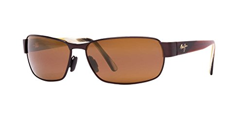 (Maui Jim boysgirl's Black Coral H249-19M | Polarized Matte Espresso Rectangular Frame Sunglasses, One Size )