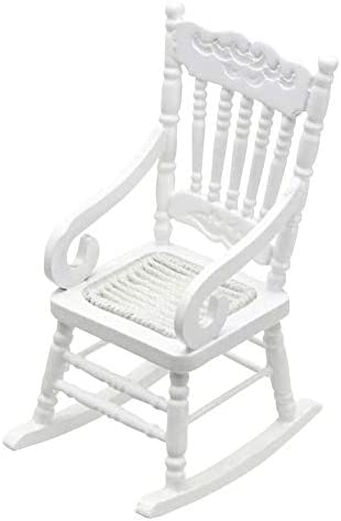 CuteExpress Miniature Rocking Chair 1:12 Scale Dollhouse Accessories Tiny Furniture Model for Doll House Toy Home Decoration Scene Shooting (White)