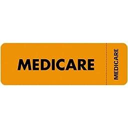 Medical Labels for Medicare, 1 x 3, Fluorescent Orange, 250/Roll