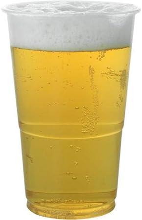 100 vasos de cerveza reciclables de plástico resistente y desechables, ideales para cerveza y refrescos