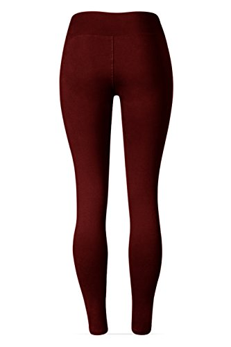 SATINA High Waisted Leggings – 22 Colors – Super Soft Full Length Opaque Slim (Plus Size, Burgundy) by Sejora (Image #4)