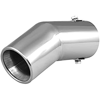 Uxcell a17050500ux0038 Silver Tone Universal Car Stainless Steel Chrome Curved Exhaust Tail Muffler Tip Pipe Fit Diameter 3//5 to 1 1//2 Inch
