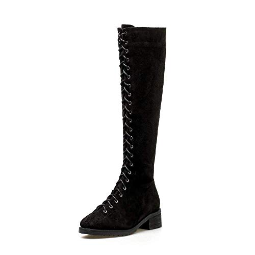 (Women's Faux Suede Mid Calf Lace up Chunky Low Heel Knee High Boots(Black-5 M US))