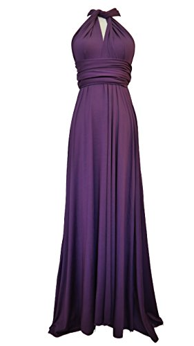 Full Length Convertible Bridesmaids Dress in Royal Plum Purple,One Size