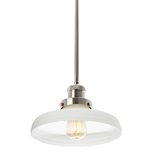 (Satin Nickel Clermont Pendant Light with 10-inch Frosted White Glass Shade, Adjustable Hanging Height, Integrated Slope Ceiling Adapter, Modern Industrial Mini Farmhouse Kitchen Lamp, UL & CUL Listed)