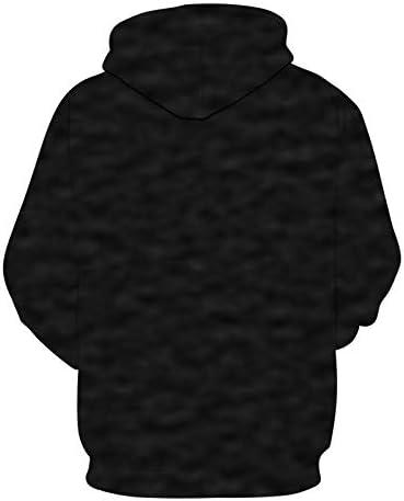 Anime Cat Sweatshirts Men Black Hoodies 3D Printing Pullover Streetwear Tracksuit