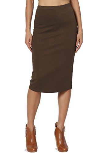 TheMogan Women's Basic Stretch Thick Ponte Knit Pencil Midi Skirt Olive 2XL