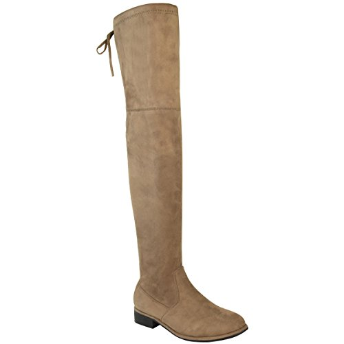 Over Knee Suede Slouch Heel Thigh Low Size Block Womens Up Boots The Mocha Lace Thirsty Fashion Faux High Brown UqYxARI