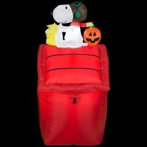 Gemmy Airblown Inflatable Snoopy as Red Barron and Woodstock on Doghouse with Pumpkin - Indoor Outdoor Holiday Yard Decoration,  3.5-foot Tall - Small Frankenstein Decoration Display