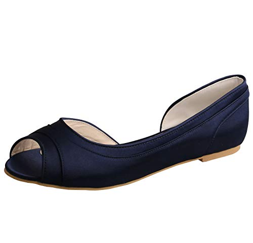 SERAPH MW060 Women Satin Peep Toe Ballet Ballerina Flats Wedding Prom Bridesmaid Shoes Navy,Navy,8MUS
