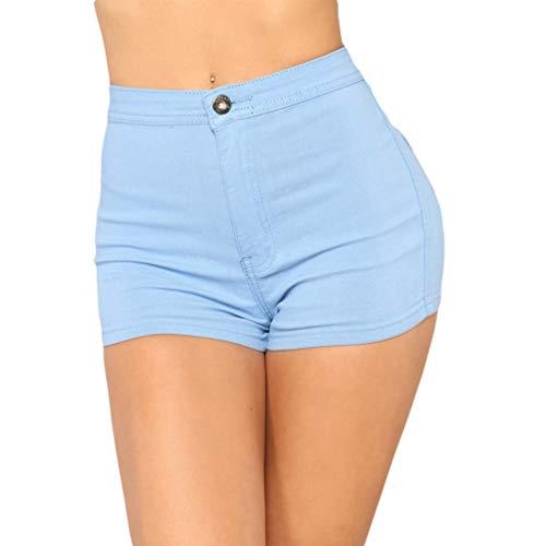 Hot Azzurro Alta Estate Denim Corti Sentaoa Pantaloni Stretch Vita Casual Shorts Pants Donne Skinny Jeans Pantaloncini OwFdZFqE