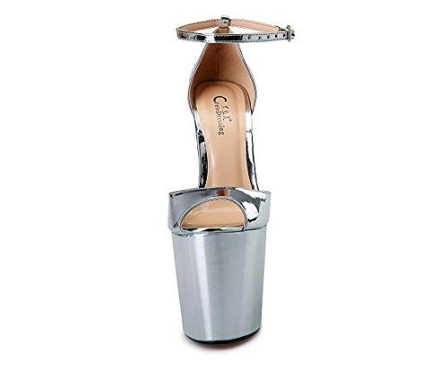 Dressy Prom Pesce Nightclub 42 Nuovo Sexy In Shallow Nvxie Cinturino 5 8 Scarpe Sliver Rosso Pu Tacco uk Bocca Sandalo Da Coda Primavera Nero Stiletto Eur Impermeabile Alto Con Artificiale eur40uk7 Donne FgxxOSn