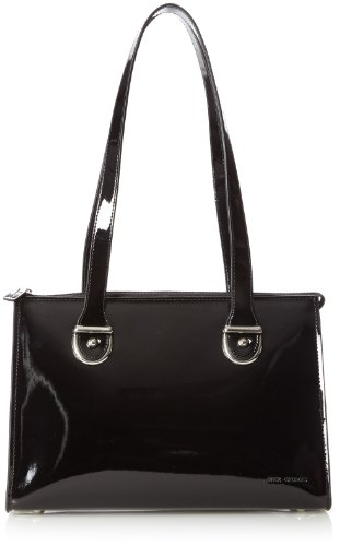 Blk Patent Leather Bag (Jack Georges Top Zip Shoulder, Black, One Size)