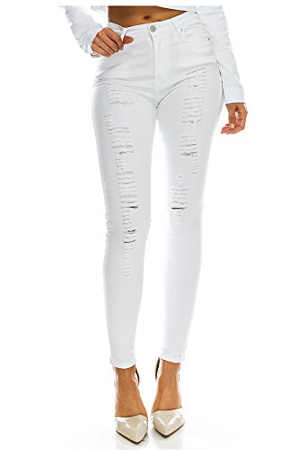 TwiinSisters Women's High Rise Stretch Destroyed Ripped Color Skinny Pants Jeans Multi Styles
